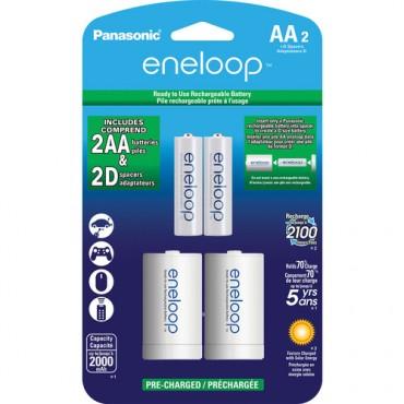 Pilas Eneloop AA 1900 mAh con adaptador