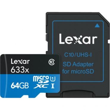 Tarjeta de memoria Micro SDXC Lexar 633x 64GB V30