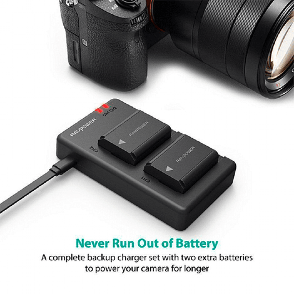 Ravpower  Bateria Reemplazo Sony NP-FW50 Kit 2x con Cargador USB