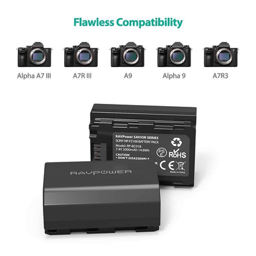 Ravpower  Bateria Reemplazo Sony NP-FZ100 Kit 2x con Cargador USB