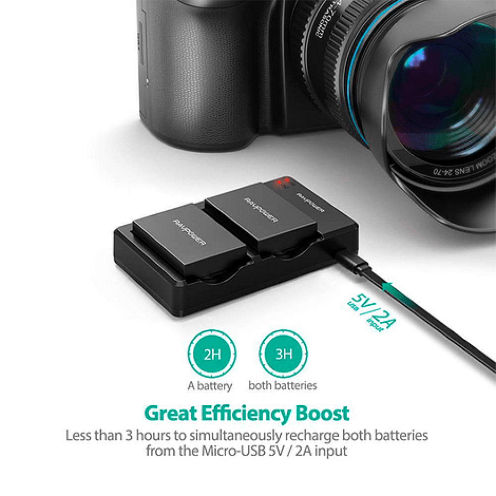 Ravpower  Bateria Reemplazo Canon LP-E8 Kit 2x con Cargador USB