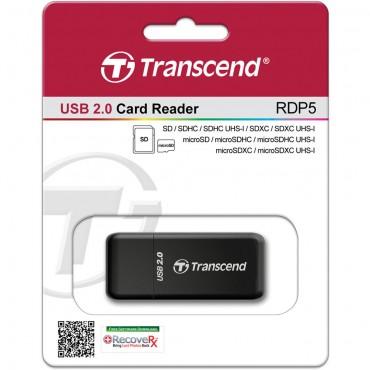 Lector de Tarjeta SD/ microSD Transcend USB 2.0 RDP5 Negro